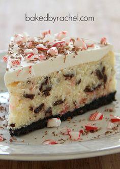 White Chocolate Peppermint Bark Cheesecake Recipe from bakedbyrachel.com
