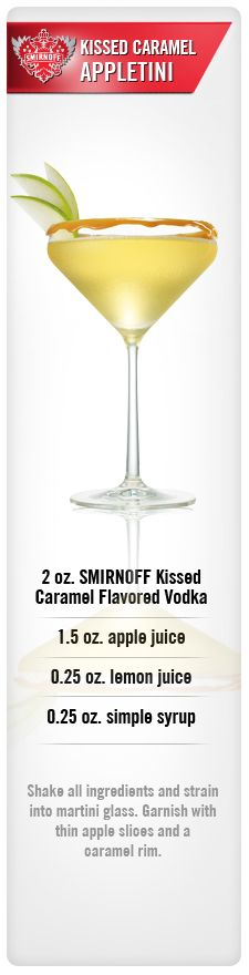 Kissed Caramel Appletini drink recipe with Smirnoff Kissed Caramel Flavored Vodka, lemon juice & Simple Syrup. #Smirnoff #vodka #Caramel #lemon #syrup #drinkrecipe