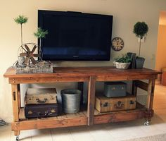 living rooms, old suitcases, tv consoles, pallet, tv stands, pottery barn, kitchen islands, console tables, entertainment centers