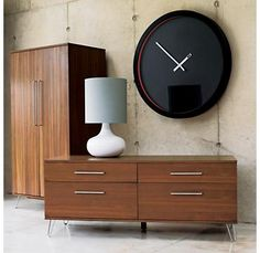 mid century modern, modern furniture, clock, dresser, furniture hardware, mid centuri, mid century furniture, mid century design, bedroom
