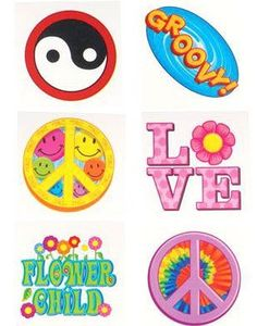 12 Groovy Hippie 60s 70s Costume Trick or Treat Tattoos by BlockBusterCostumes. $0.99. adult's or child Size. adult's or child's Halloween Flower Power Costume!. Please note that only the items listed above are included.. Included in this posting: Set of 12 assorted retro hippie theme temporary tattoos as featured. 12 Groovy Hippie 60s 70s Costume Trick or Treat Tattoos. Flower power was a slogan used by hippies (aka Flower Children) during the late 1960s and early 197...