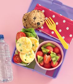 Kindergarten. If you're kids are off totheir first day of school, pack them a lunch they'll love to eat.  +3 small frittatas. +2 macro wholefoods market apricot  currant muesli cookies. +1 fruit salad in fun shapes (we used a smallmelon scoop to make watermelon balls; halved strawberries to make heart shapes; and cut kiwifruit into triangles). +1 water bottle.  http://www2.woolworthsonline.com.au/#url=/shop/seasonal/back-to-school  #woolworths #kids #lunchbox #backtoschool