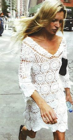 summer dresses, crochet dresses, the dress, street styles, katemoss, white lace, street style fashion, lace dresses, kate moss