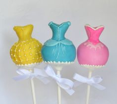 Belle Cinderella and Aurora Disney Princess Dress Cake Pops