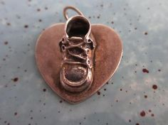 Vintage Beau Sterling Silver 3D Baby Shoe with Nameplate on Back Charm Pendant