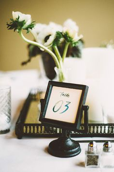 watercolor table number, photo by Kim Smith-Miller http://ruffledblog.com/seattle-wedding-with-vintage-glam-flair #tablenumbers #weddingideas