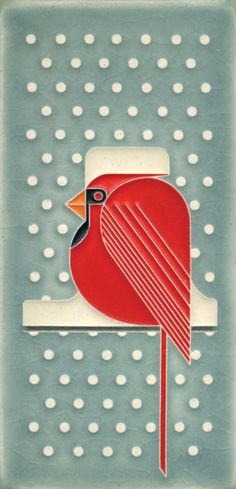 4x8 Cool Cardinal (Charley Harper by Motawi)