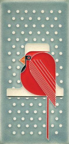 4x8 Cool Cardinal (Charley Harper by Motawi)