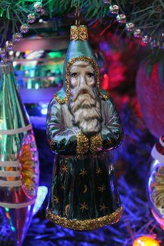Blue German Glass Santa