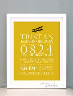 Airplane Theme Custom Birth Stat Print Personalized Aviation Nursery Wall Art or Birth Announcement - Printable (Vintage Airplane Theme). $15.00, via Etsy.