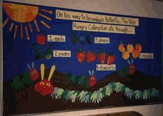 The Very Hungry Caterpillar by Eric Cale inspired bulletin board.