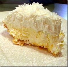 """Heads- up coconut lovers this pie is amazing totally decadent and the coconut crust is absolutely awesome.  The crust takes it from ordinary to sublime."""