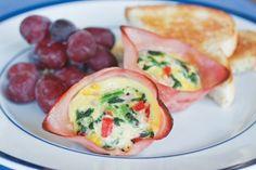 eggs, mini ham, muffin tins, muffin tin recipes, breakfast casserole, egg cups, brunch, quich, baked ham