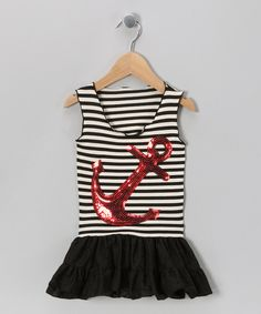 Charla's Place Black Anchor Dress - Toddler & Girls - Zulily - Anchors Away Store