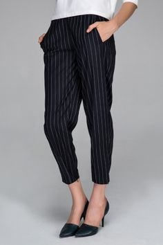 Tapered trousers with navy stripes - FrontRowShop