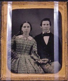 On June 26, 1863, while scouting the area around Gettysburg, Confederate cavalry came upon a small group of Union Troopers of the 21st Pennsylvania Cavalry south of town. Private George Washington Sandoe fired at the Confederates, and they fired back. The Union trooper fell dead. Shown here with his wife, Diana, he was the first Union soldier killed at Gettysburg. Sandoe had been in the army for six days.