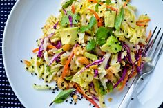 Crunchy cabbage salad with peanut dressing