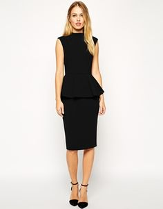 Pencil Dress with Peplum and High Neck