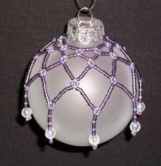 Beaded Christmas ball ornament net cover decoration purple