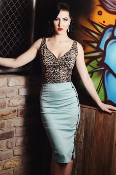Pinup rockabilly turquoise and black pencil by holachicaclothing, $70.00