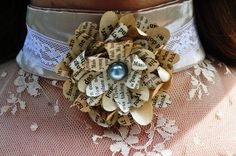 Paper Flowers Daisy - Steampunk Choker Necklace by Poison Ivy Designs