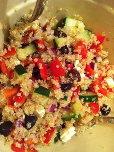 Greek quinoa salad with Pepperoncinis!