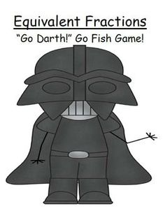 """FREE """"Go Darth!"""" Equivalent Fractions Go Fish Card Game  This GO DARTH! Go Fish Card Game focuses on Equivalent Fractions!  * 10 PAGES of Star Wars Themed  """"Go Darth"""" printable center games.  * Distinct Cover Sheet to glue on the folders, or place in a Ziplock Baggie."""