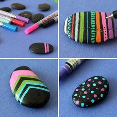 DIY Neon Painted Stone Rings | Brit + Co.