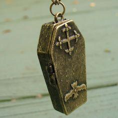 Steampunk Bat Coffin Necklace