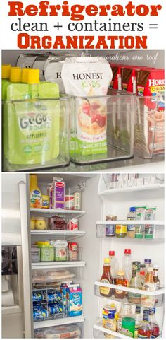 How to organize + clean your refrigerator in a couple hours using food storage containers + soda organizer - Quick and easy organization tips - Four Generations One Roof