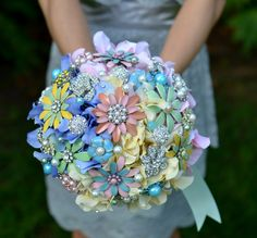 Deposit on a vintage gumdrop jeweled bouquet -- made to order wedding bouquet. $200.00, via Etsy.