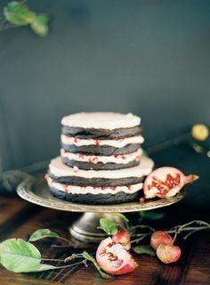 naked chocolate wedding cake, photo by Jen Huang Photography, cake by Lael Cakes http://ruffledblog.com/romantic-inspiration-froma-jen-huang-workshop #weddingcake #cakes