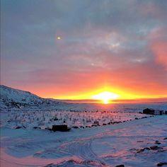 Sunrise in Iqaluit in Nunavut in late November at 8:50am