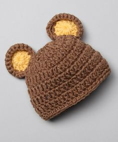 Look what I found on #zulily! Brown Bear Knit Crocheted Beanie #zulilyfinds