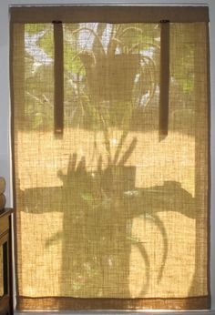 DIY window coverings burlap, leather, and wood