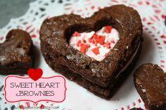 Sweet Heart Brownies - YoT #valentinesday #brownies sweetheart browni, diy heart, browni heart, food, craft idea, ador sweetheart, valentin browni, heart felt, dessert