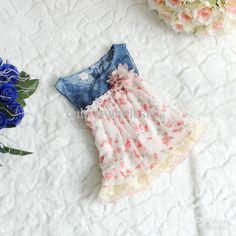 Wholesale Lace Dress - Buy HOT SALE!baby Girls Denim Hole Dress with Floral Tutu Lace Ruffle Skirts Kids Girls Fashion Summer Dresses 4pcs/lot 2-7years Children's, $10.87 | DHgate