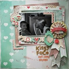 scrapbooking layout - love the rosette banner cluster