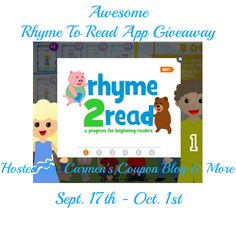 Ends 10/01 - Awesome Rhyme To Read App Giveaway