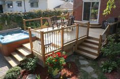 Patio deck with hot tub