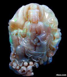 Opal Crystal Kwan-yin Carving
