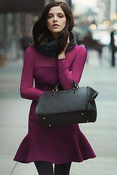 Ashley Greene for DKNY in raspberry+black