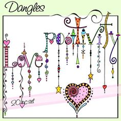 Found this nice Zenspirations Dangle design while perusing Pinterest tonight... from a set of whimsical watercolored words with colorful dangles.  The words included in this set are:  beautiful, chic, family, fun, playful, serendipity, thoughtful, positivity, fanciful, playful, dream, fabulous, and love.