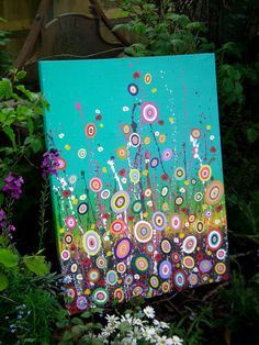 Abstract Acrylic Flower Painting on Canvas Hippy by DaisysCrafts, £80.00