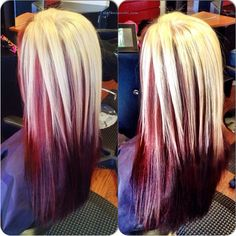 love this. i might do this with the blonde a little longer in the back but i want the red underneath. doing this!!