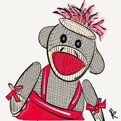 Ms. Sock Monkey Art Print