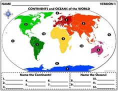 Do you know the continents and oceans of the world? Many of my students that are coming into 6th grade don't! Holy cow! So, I made up this review/quiz that I could give them throughout the year.