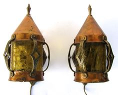 Pair of Arts and Crafts Copper and Brass Wall Sconces www.rubylane.com #antiquelighting sconc wwwrubylanecom, wall sconces, craft copper