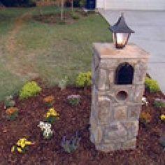 DIY Lighted Stone Mailbox