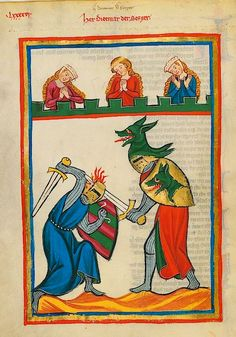 The Codex Manesse, is a Liederhandschrift (medieval songbook), the single most comprehensive source of Middle High German Minnesang poetry, written and illustrated between ca. 1304 when the main part was completed, and ca. 1340 with the addenda.